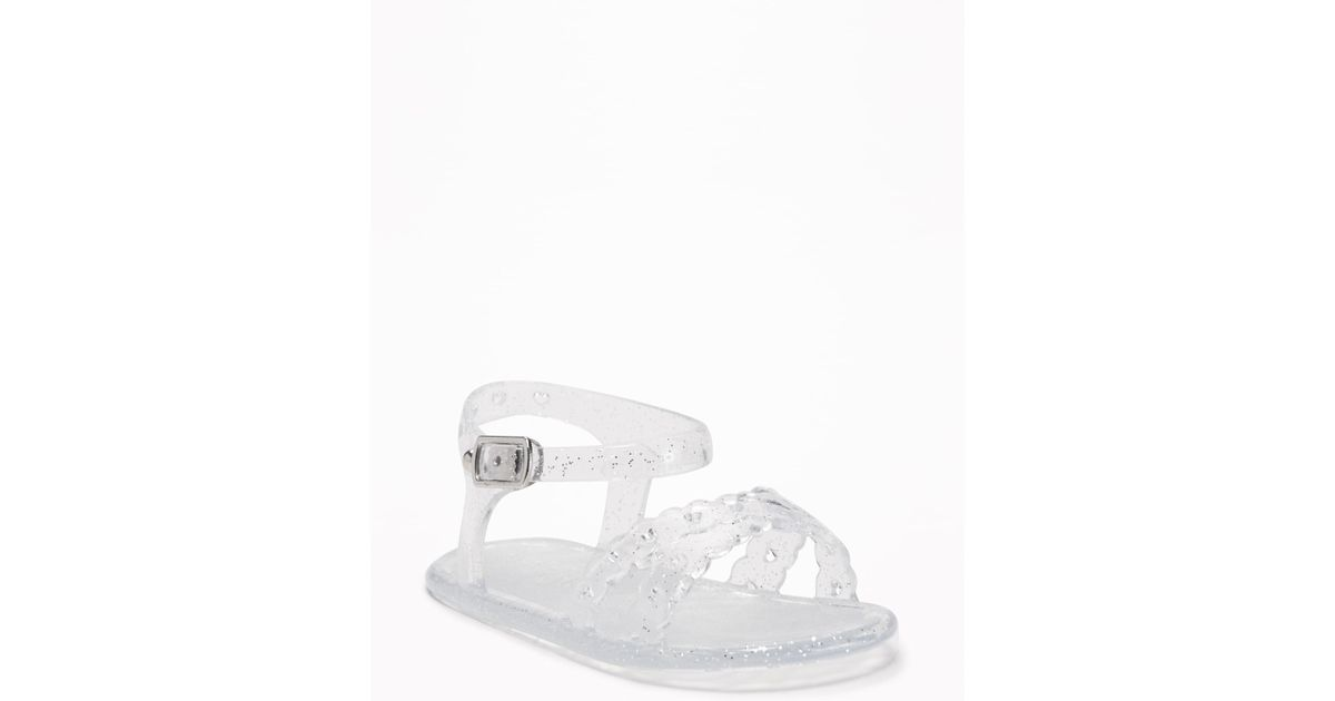 d5bc87b16bf9 Lyst - Old Navy Cross-strap Jelly Sandals in White