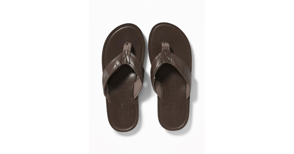 8bc45b2fe2f6 Lyst - Old Navy Faux-leather Flip-flops in Brown for Men