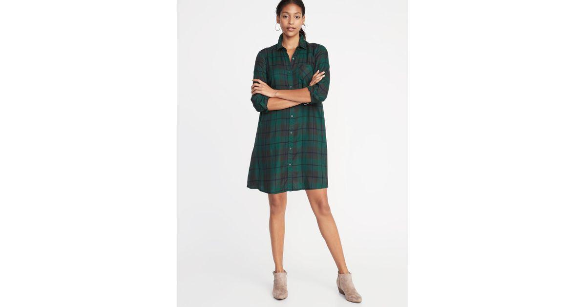 7051b08b1e325 Old Navy Plaid Swing Shirt Dress in Green - Lyst