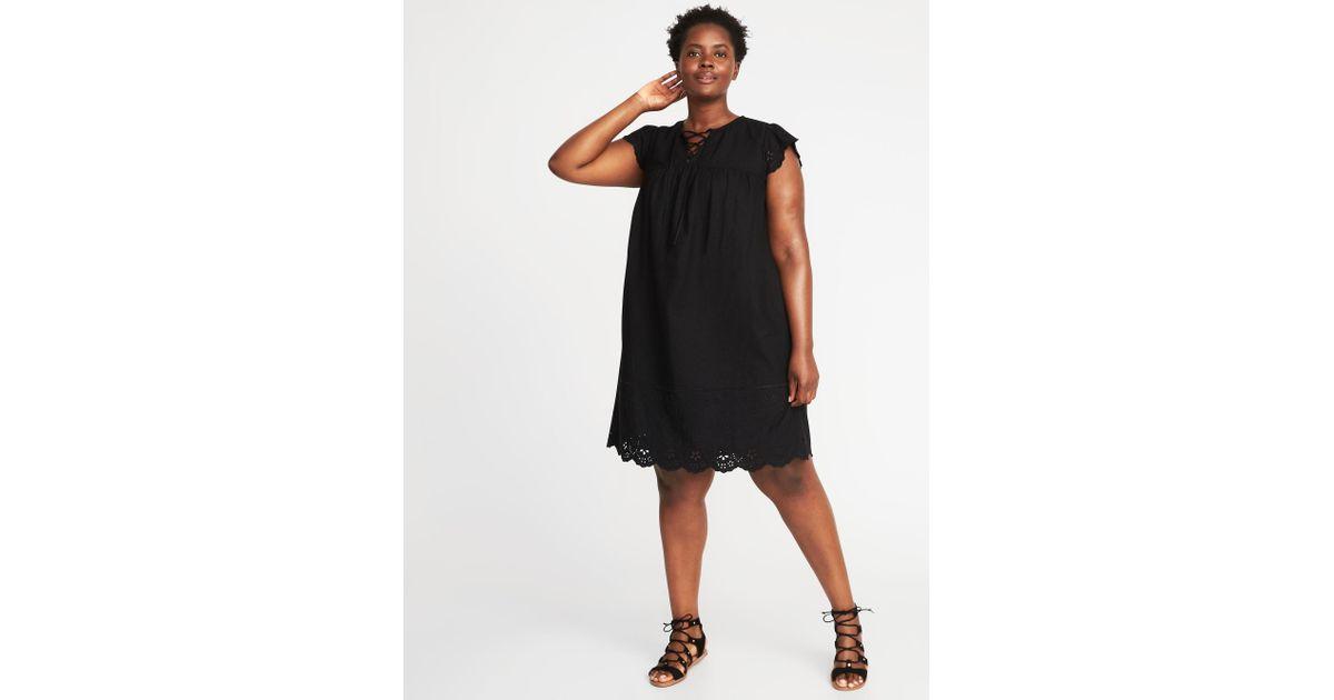 Old Navy - Black Plus-size Lace-up-yoke Linen-blend Swing Dress - Lyst