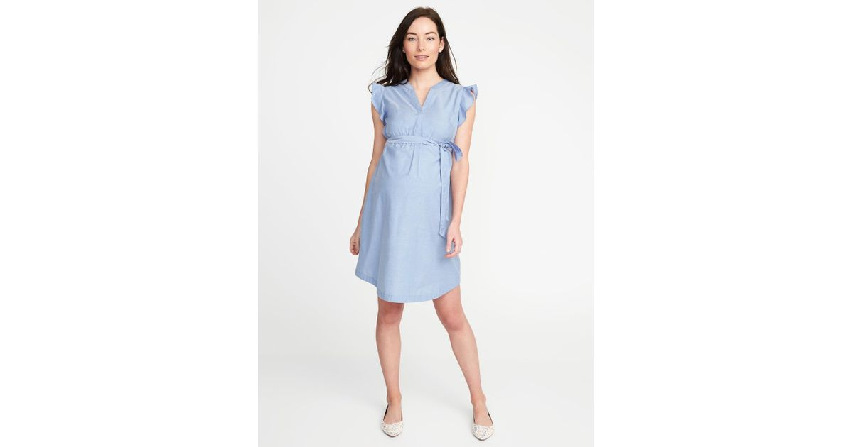 c93c2beeec Lyst - Old Navy Maternity Tie-belt Flutter-sleeve Shirt Dress in Blue