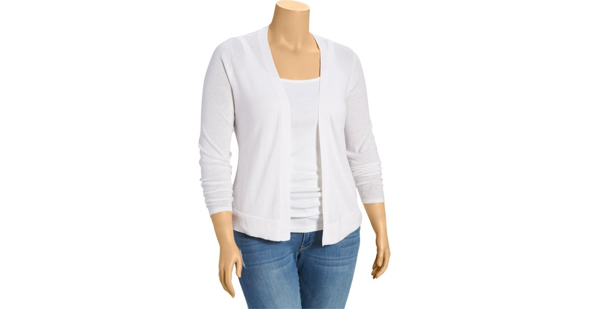 df4f730064 Lyst - Old Navy Women s Plus Short Open-front Cardigans in White