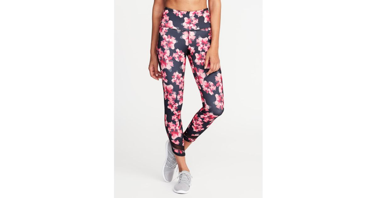 4ff0f6c958b2 Old Navy High-rise 7/8-length Floral-print Mesh-trim Compression Leggings  in Pink - Lyst