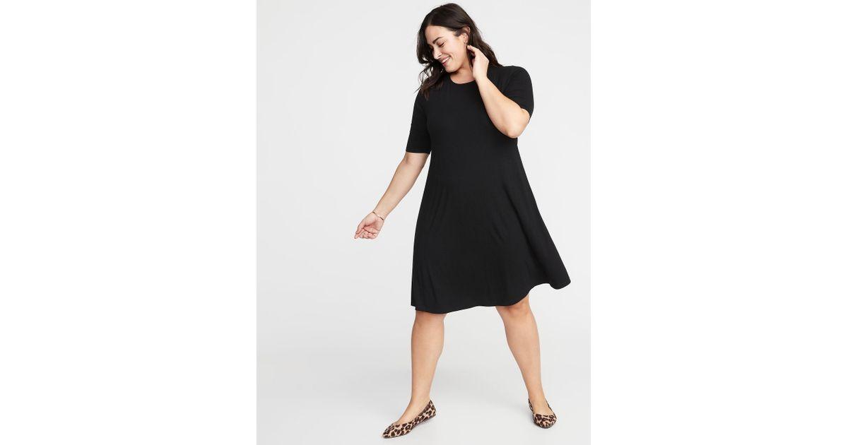 Lyst - Old Navy Jersey Elbow-sleeve Plus-size Swing Dress in Black