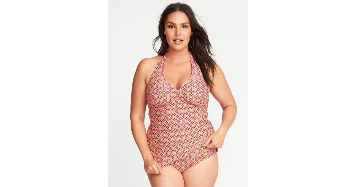 e13a012068c Old Navy Plus-size Halter Tankini Top in Red - Lyst