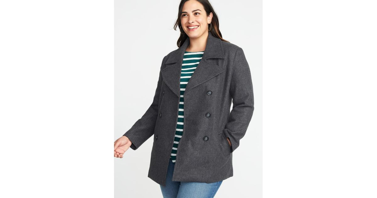 fe7555d0d3c8 Lyst - Old Navy Classic Plus-size Peacoat in Gray