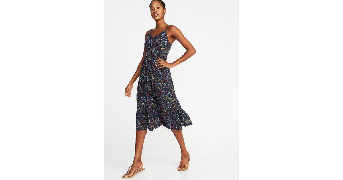 d7fa1b972a Old Navy Fit   Flare Cami Midi Dress in Blue - Lyst