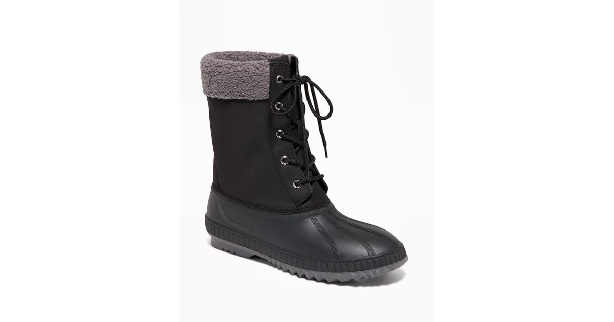 78ff87940 Old Navy Black Sherpa-trim Lace-up Snow Boots