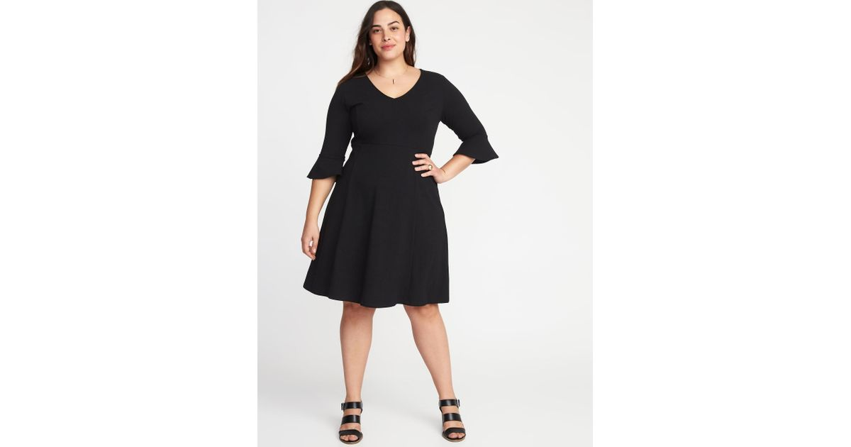 Old Navy Black V-neck Flute-sleeve Fit & Flare Plus-size Dress