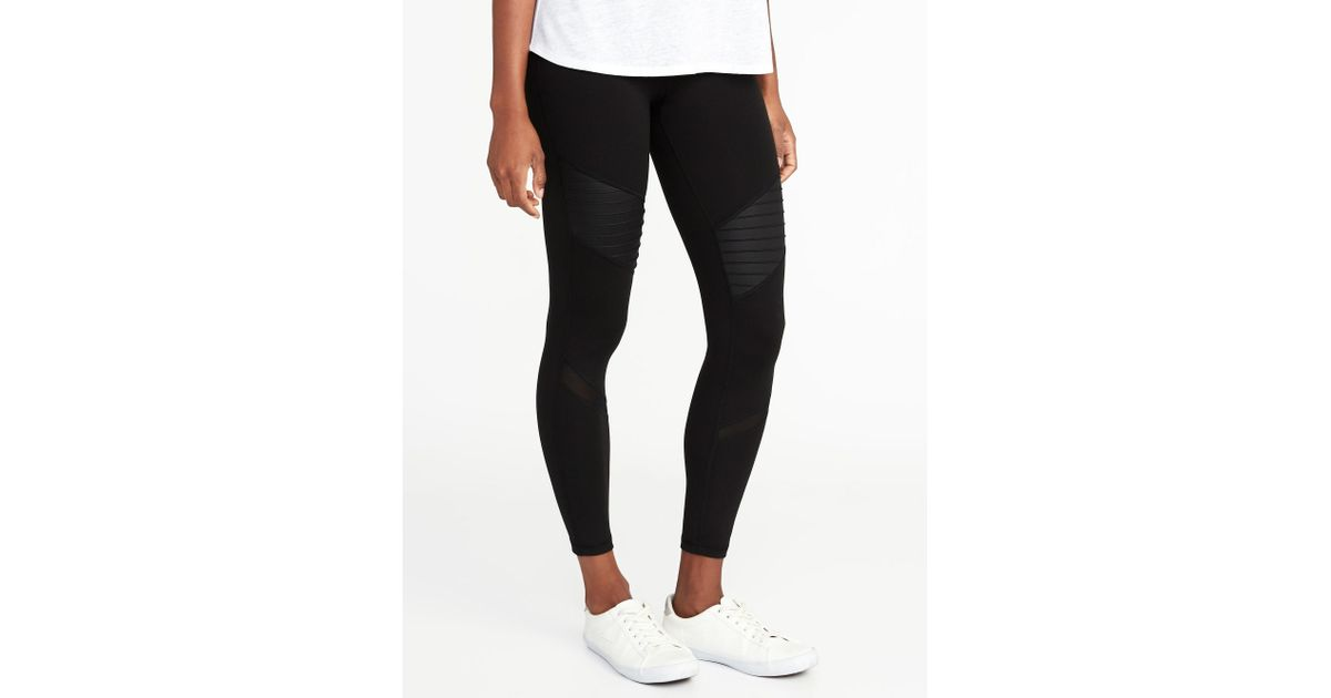 55022a66e39a0c Old Navy High-rise 7/8-length Moto Compression Street Leggings in Black -  Lyst
