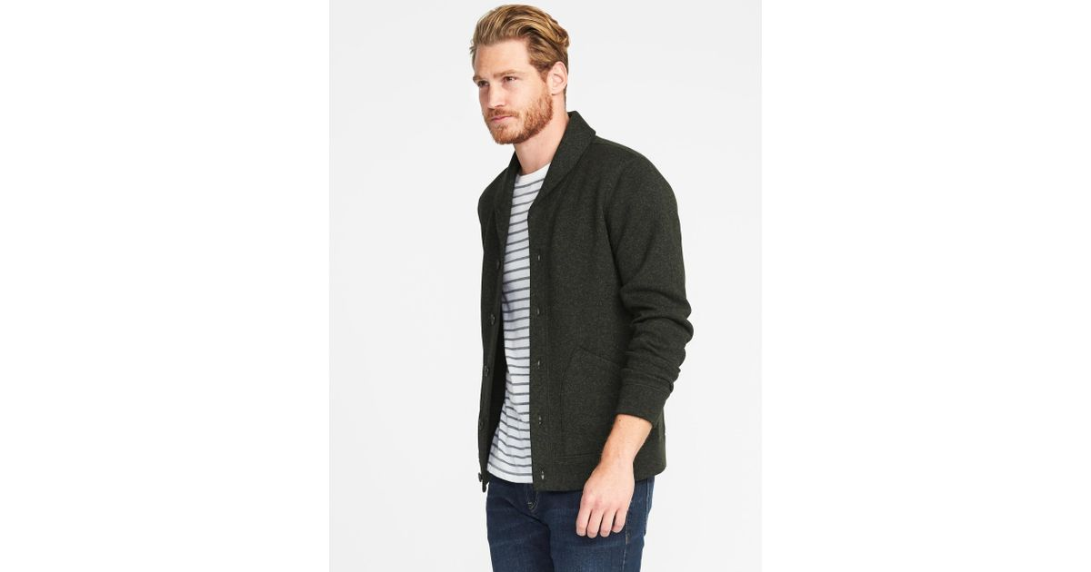 40658a4d7cb Lyst - Old Navy Shawl-collar Sweater-knit Fleece Cardigan in Green for Men