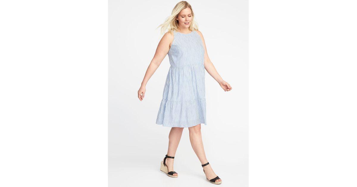 da34869d9e0e0 Lyst - Old Navy Sleeveless Plus-size Tiered Swing Dress in Blue