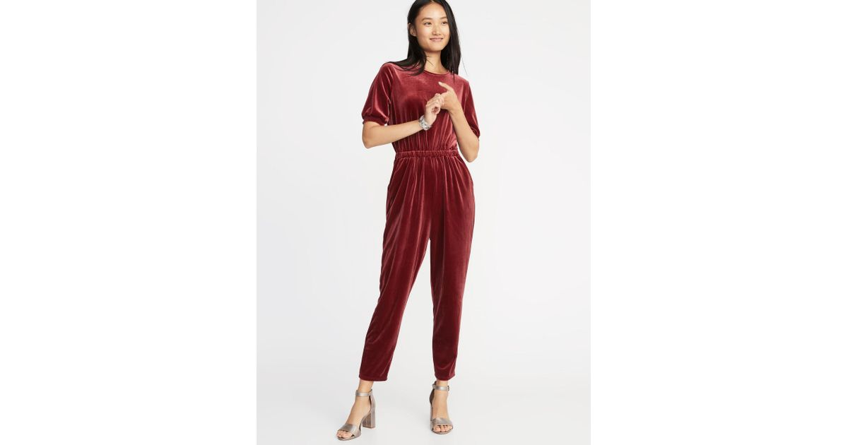 Old Navy Waist Defined Smocked Sleeve Velvet Jumpsuit In Red Lyst