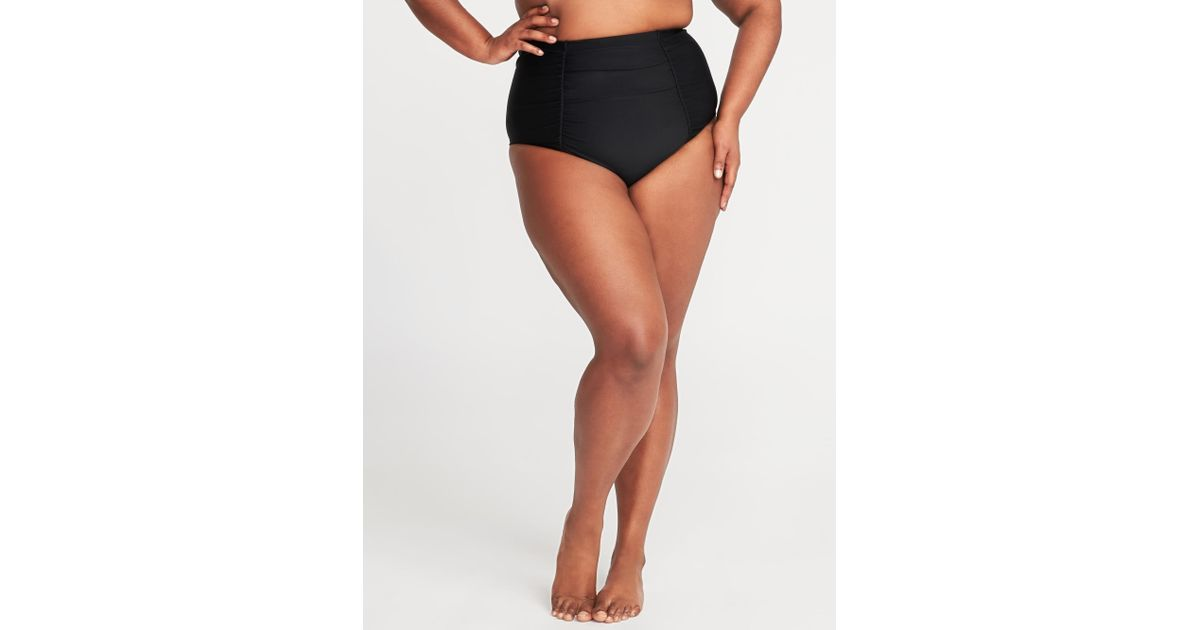 b9f581951a1 Lyst - Old Navy High-rise Secret-slim Plus-size Swim Bottoms in Black