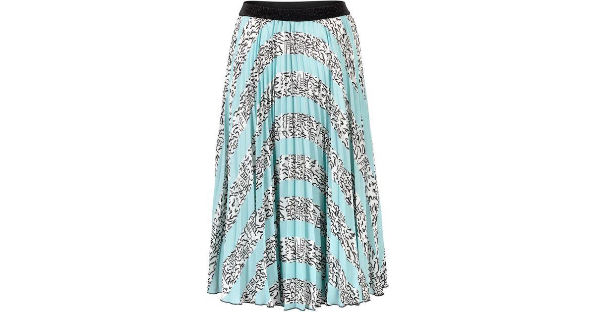 ea1cf756dd Oliver Bonas Squiggle Print Pleated Midi Skirt in Blue - Lyst