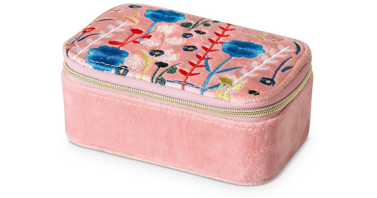 Oliver Bonas Pink Hana Embroidered Travel Jewellery Boxes