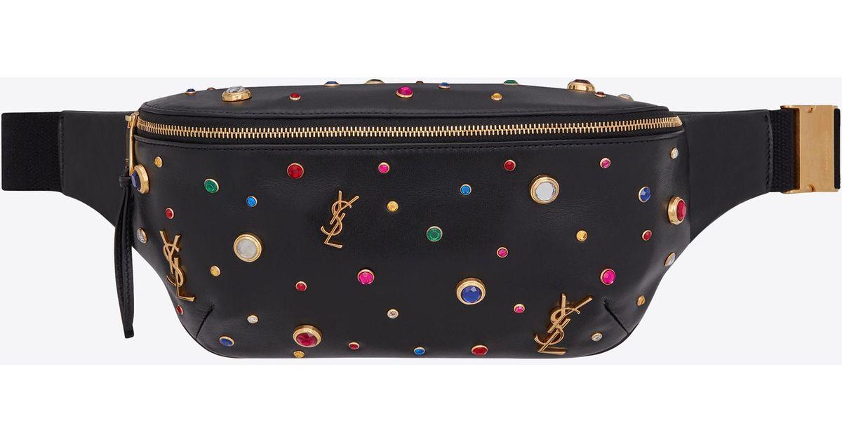 1b33b17f75 Saint Laurent Black Classic Monogram Belt Bag