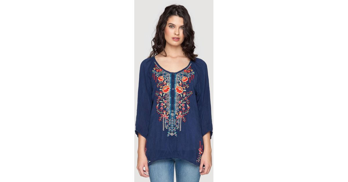 76a14d2f0405a Lyst - Johnny Was Olivia Blouse in Blue