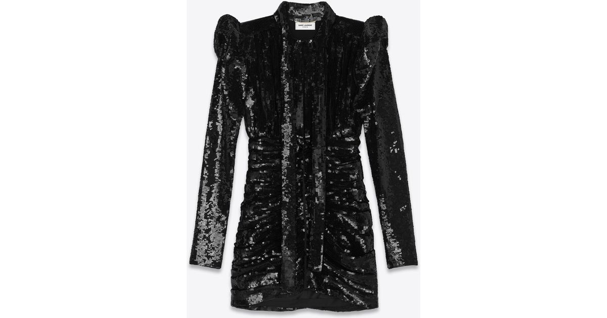 a3a5b9475e Saint Laurent - Black All Over Embroidered High Waisted Lavallière Dress -  Lyst