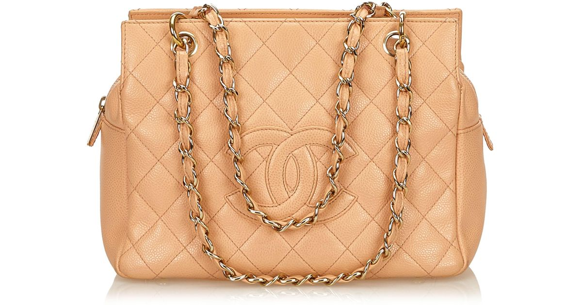 bf9ca407dee9 Lyst - Chanel Light Quilted Caviar Petite Timeless Tote in Brown