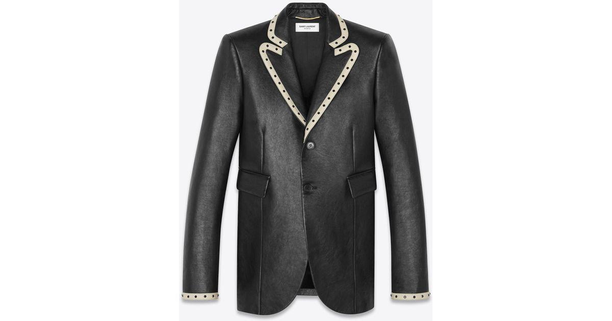 2f67c3c53b Saint Laurent Black Leather Suit Jacket Decorated With Rivets