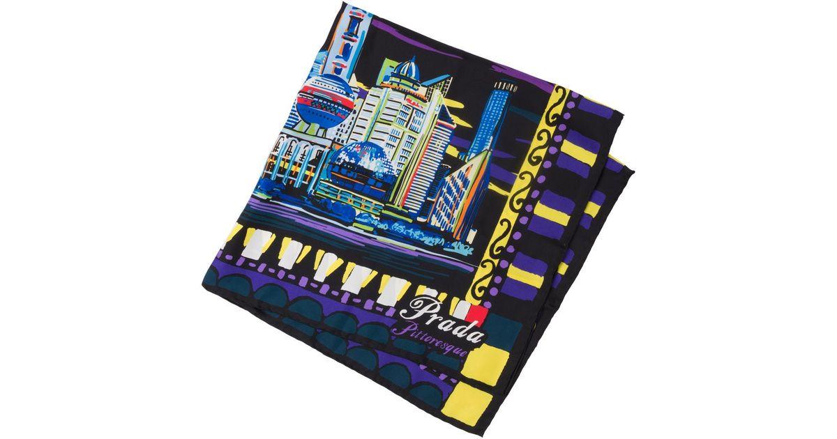 9c5f065b81 Prada - Blue Pittoresque Shanghai Print 90 Silk Foulard - Lyst