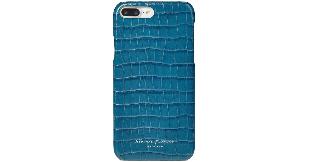 finest selection 1481b f3845 Aspinal Ladies Blue And Green Leather Deep Shine Small Croc Iphone 7 Plus  Cover