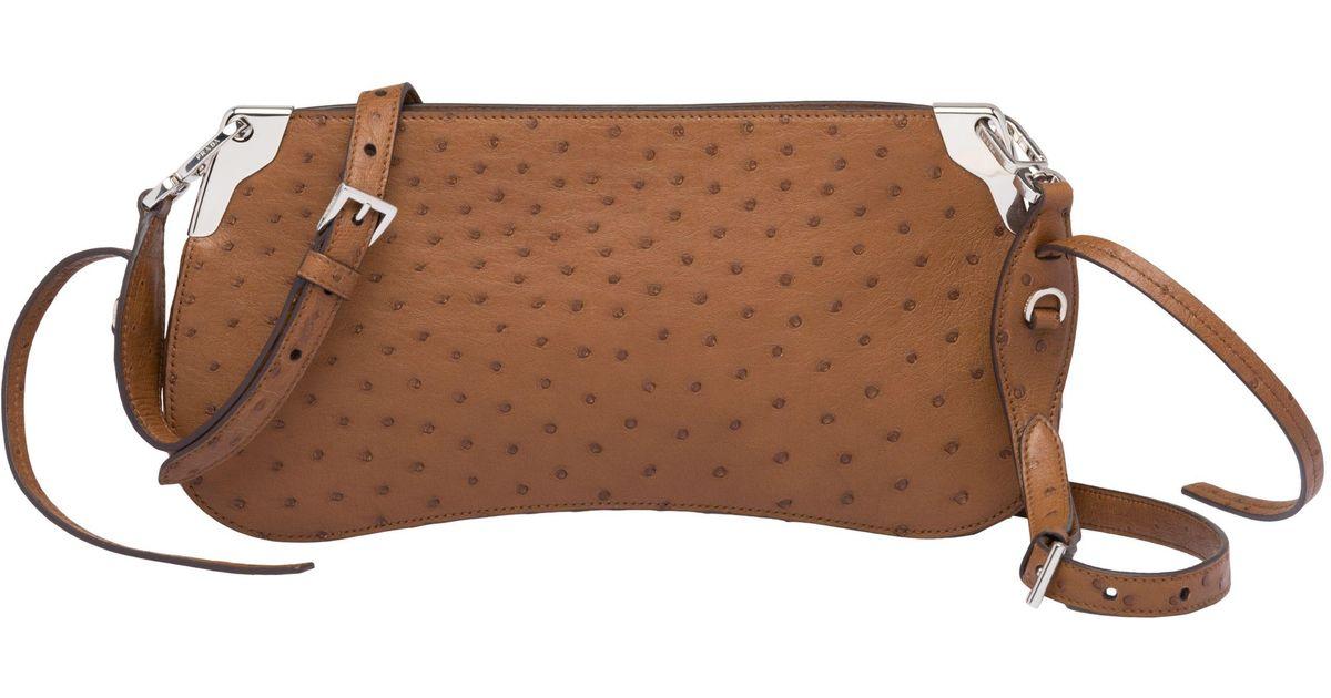 60e2b01a0d Prada Brown Sidonie Ostrich Leather Bag