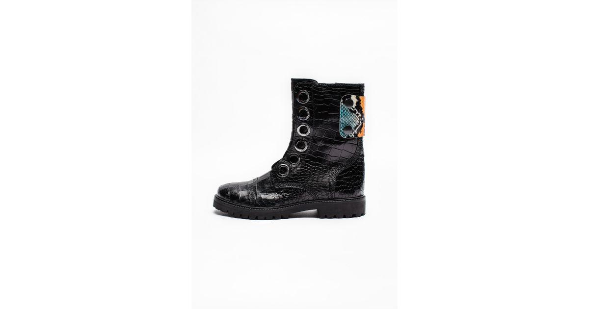 0d61c0820e82e Lyst - Zadig   Voltaire Joe Crok Patch Boots in Black