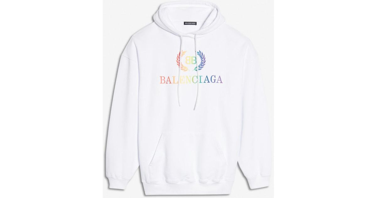 performance sportswear on feet images of shop Balenciaga Fleece Rainbow Bb Hoodie in White - Lyst