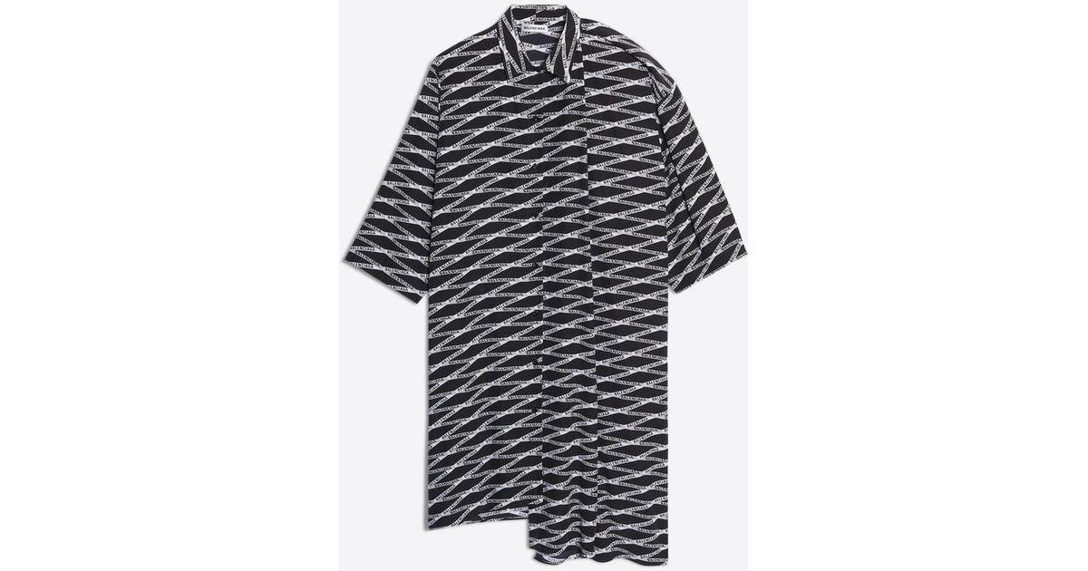 2837a7bc Lyst - Balenciaga Monogram Shifted Shirt Dress in Gray