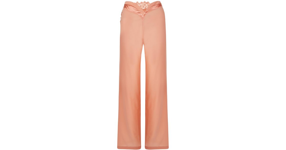 0c55ff4b7 Lyst - La Perla Macrame  Poem Nude Wide Leg Pyjama Trousers With Macramè  Detail in Natural