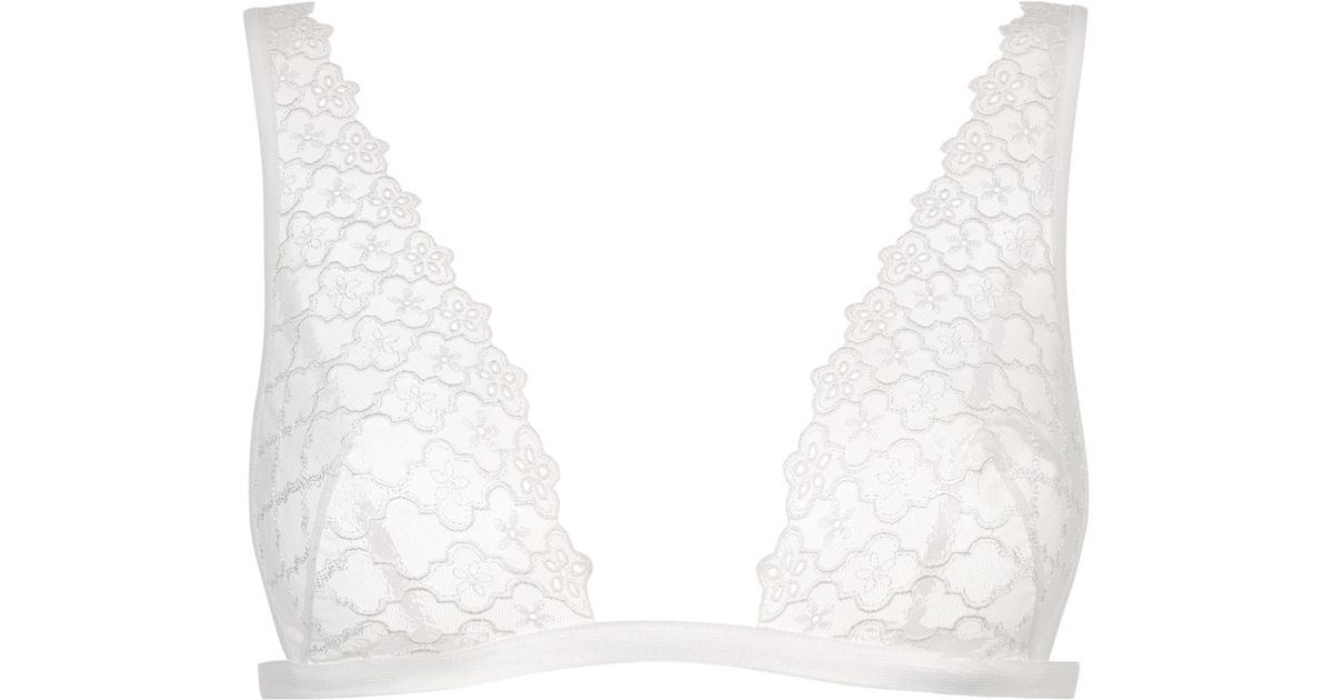 5d3234f14e7229 Lyst - La Perla Contemporanea Off-white Sheer Embroidered Triangle Bra in  White