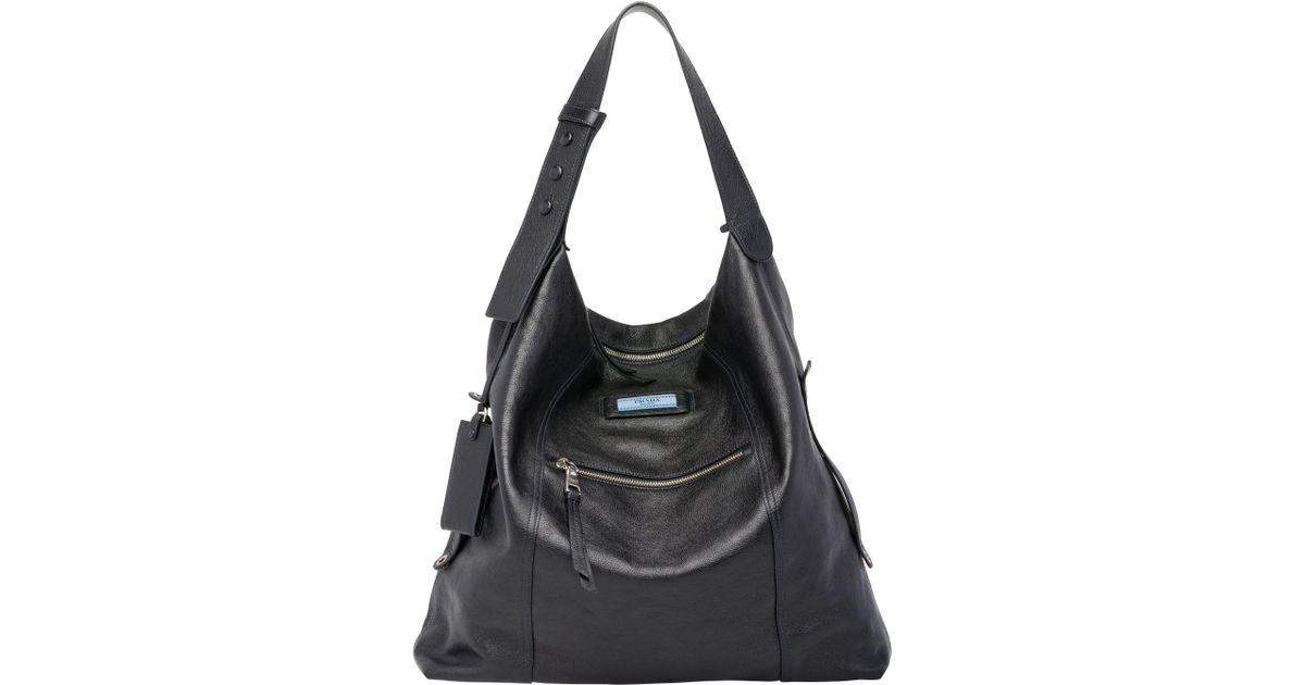 60e4a7e247b2 Lyst - Prada Etiquette Leather Bag in Black