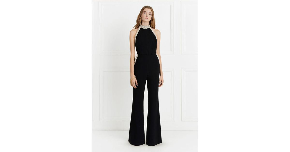 1a80ea9bd937 Lyst - Rachel Zoe Elinor Pearl-detail Halter Stretch-crepe Jumpsuit in Black