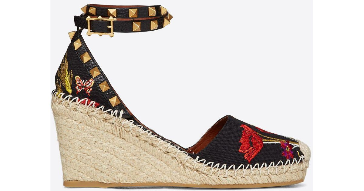 74845d6f49d Valentino - Black Poppy Embroidery Rockstud Double Wedge Espadrilles 65mm -  Lyst
