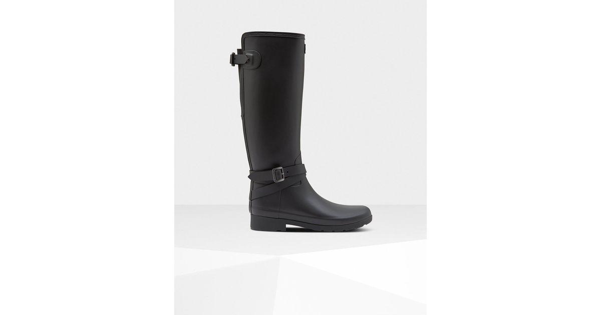 Hunter Rubber Womens Refined Slim Fit Adjustable Tall Rain Boots In Black - Lyst