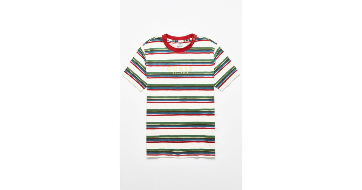 58d8ddbbbacf Lyst - Guess Dylan Stripe T-shirt in Green for Men