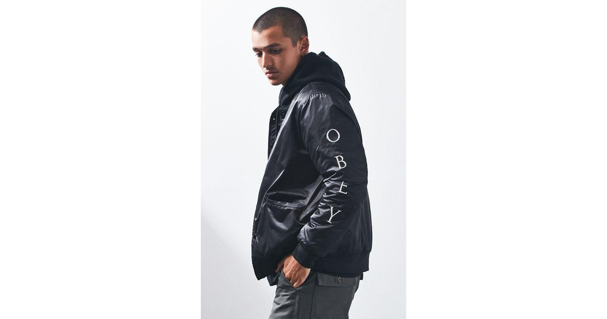 112247bd Obey Timeless Embroidered Bomber Jacket in Black for Men - Lyst