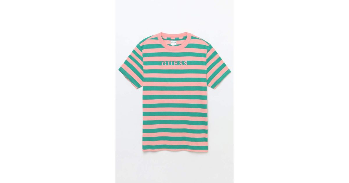 b805b483dcf4 Guess Palm Striped T-shirt in Green for Men - Lyst
