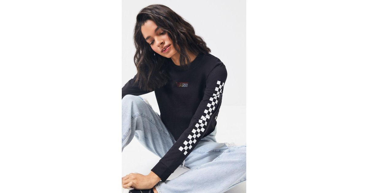 b8541e66 Vans Black Flying Checkered Long Sleeve Cropped T-shirt