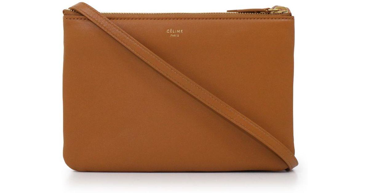 598332ec8ea5 Céline Small Trio Bag Tan in Brown - Lyst