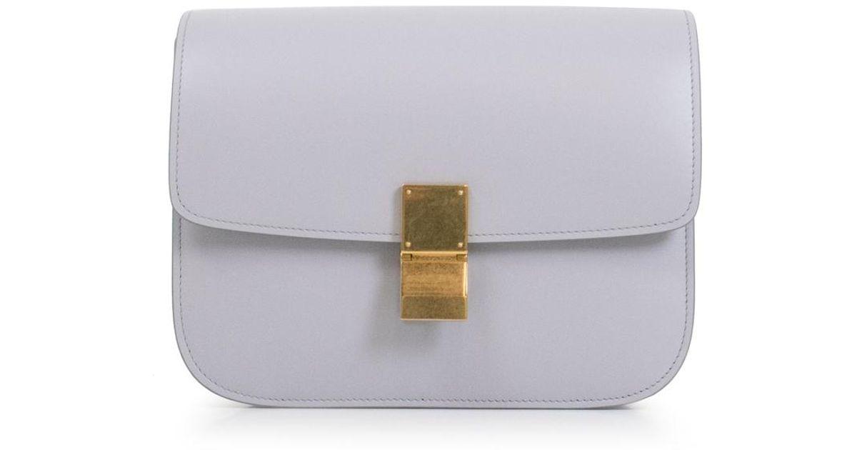 Lyst - Céline Classic Box Bag Light Grey in Gray d115349010196