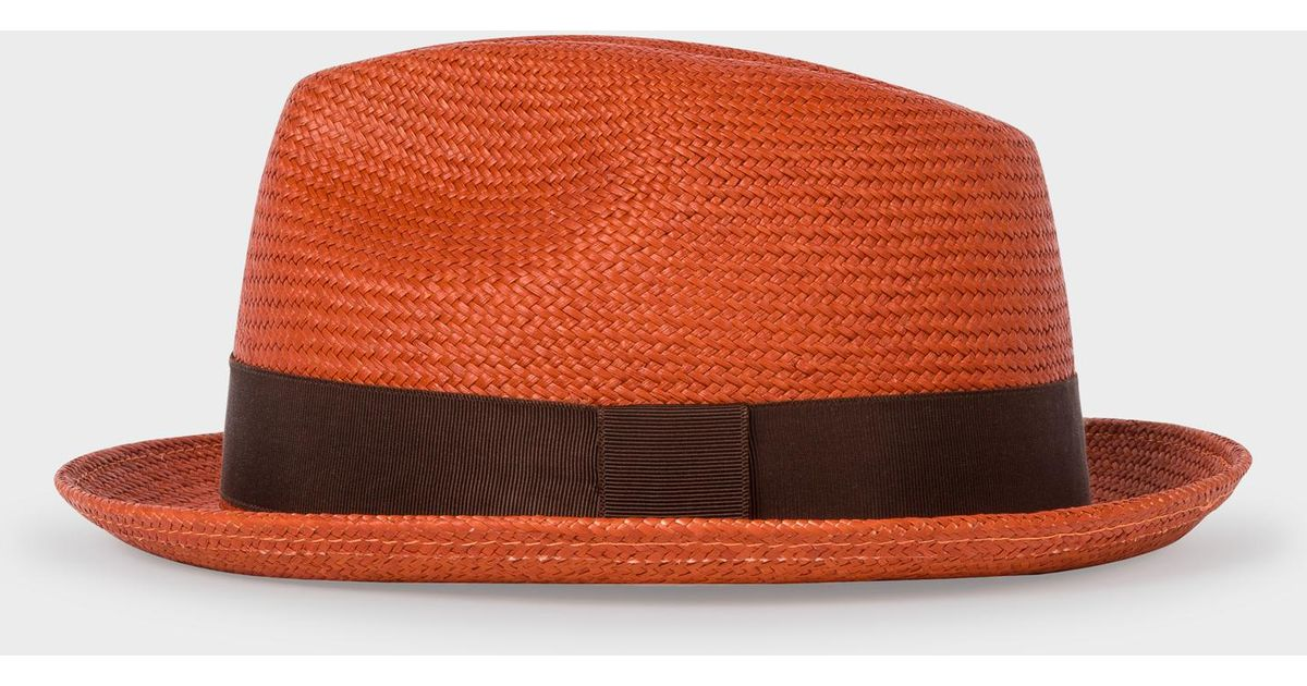 Lyst - Paul Smith Burnt Orange Panama Straw Hat in Orange for Men 76a31b96092f