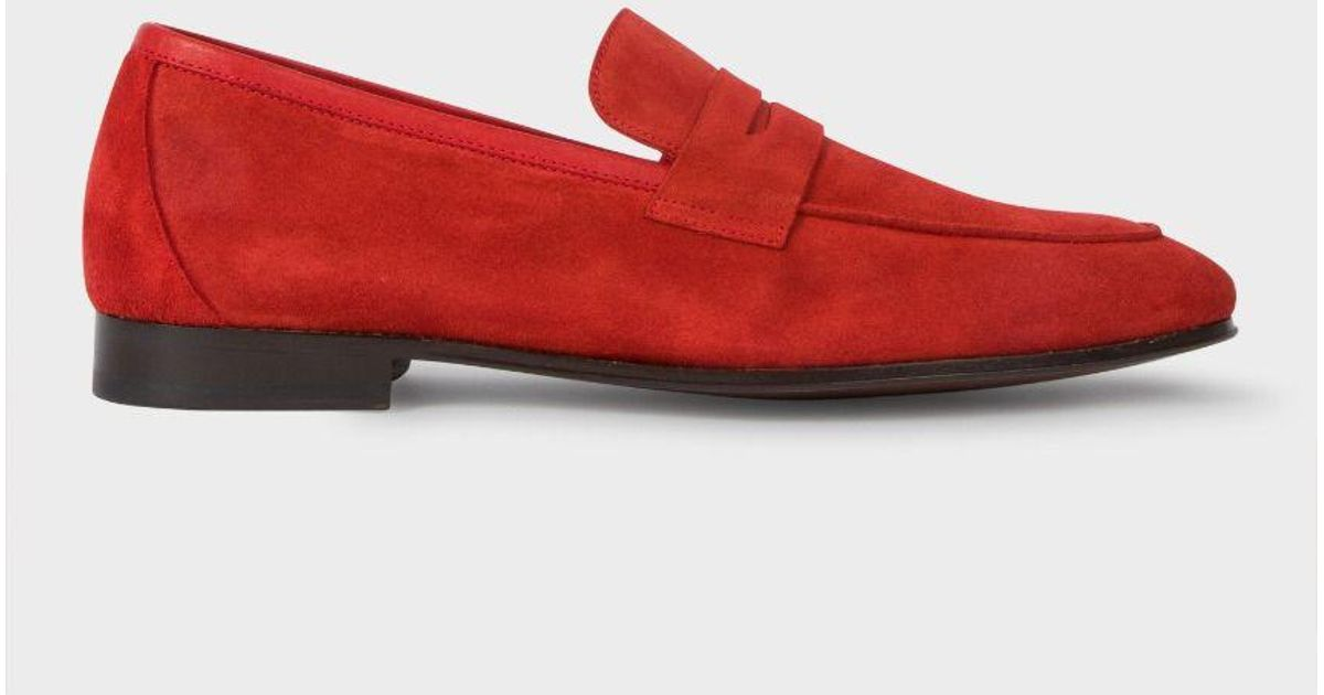 f27ebc8137d Paul Smith Men s Red Suede  glynn  Penny Loafers in Red for Men - Lyst