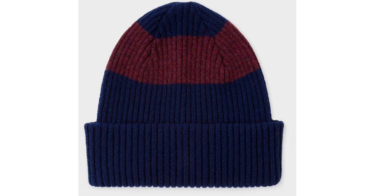 dc8e4f73a24 Lyst - Paul Smith Men s Navy Ribbed Lambswool Beanie Hat With Plum Stripe  in Blue for Men