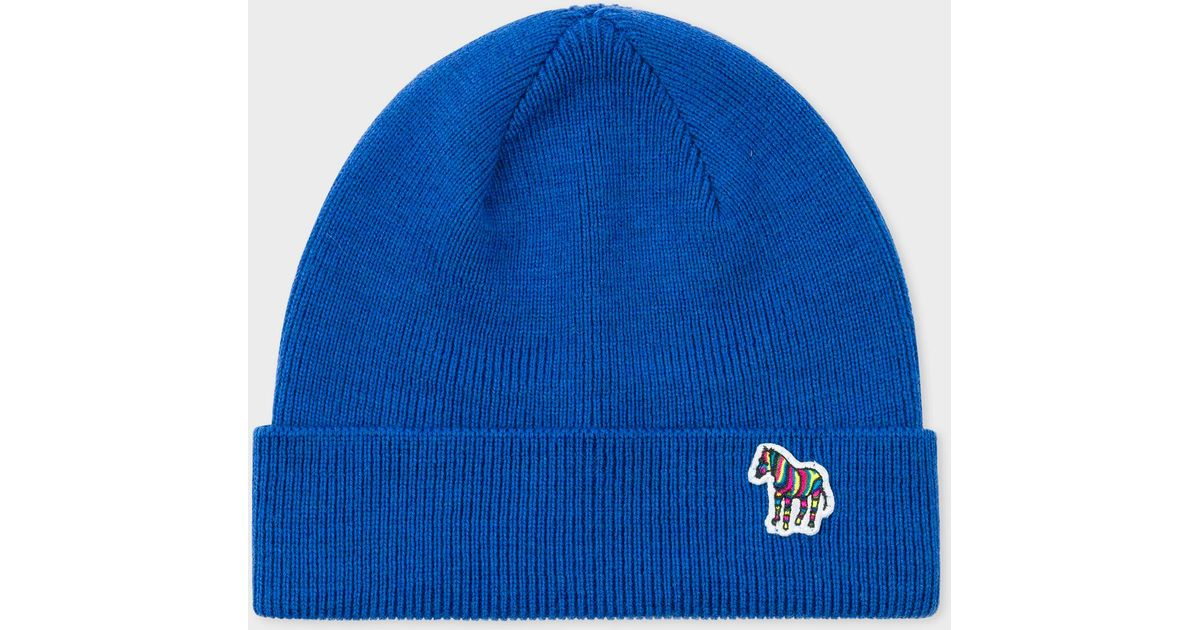 38c4aabee27 Lyst - Paul Smith Blue  zebra  Logo Ribbed Lambswool Beanie Hat in Blue for  Men