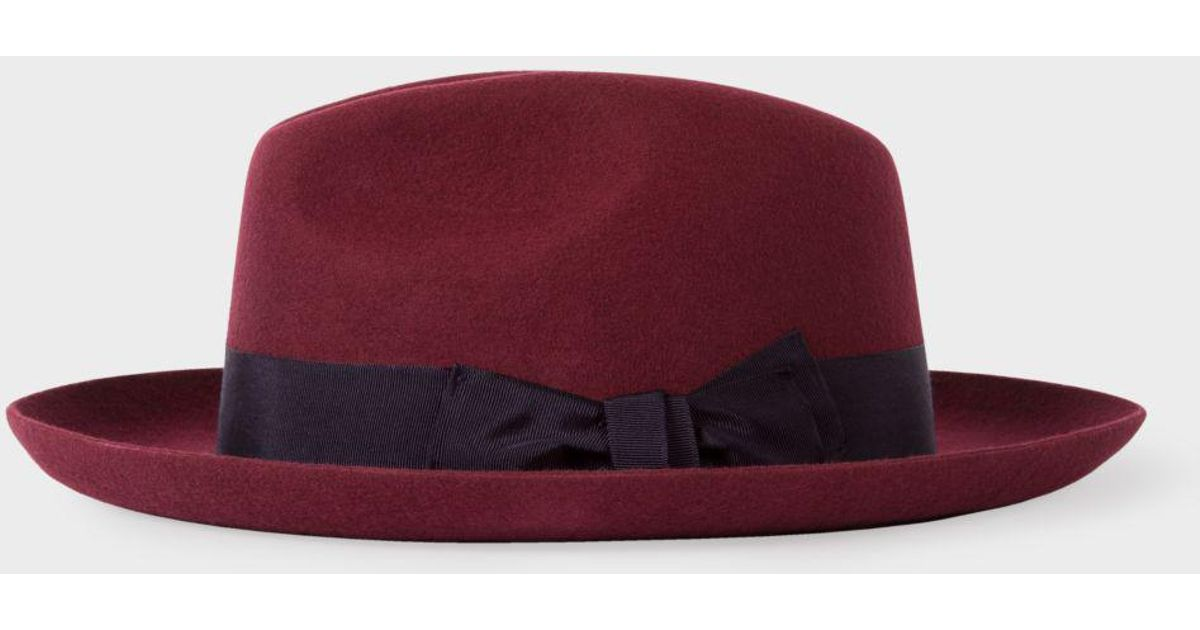 ad65bf0f1f273 Paul Smith Men s Burgundy  mayfair  Wool Fedora Hat in Red for Men - Lyst