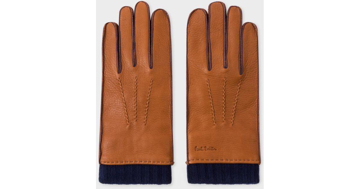 50cb572885ffa Paul Smith Men's Tan Deerskin Silk-cashmere Lined Gloves in Brown for Men -  Lyst