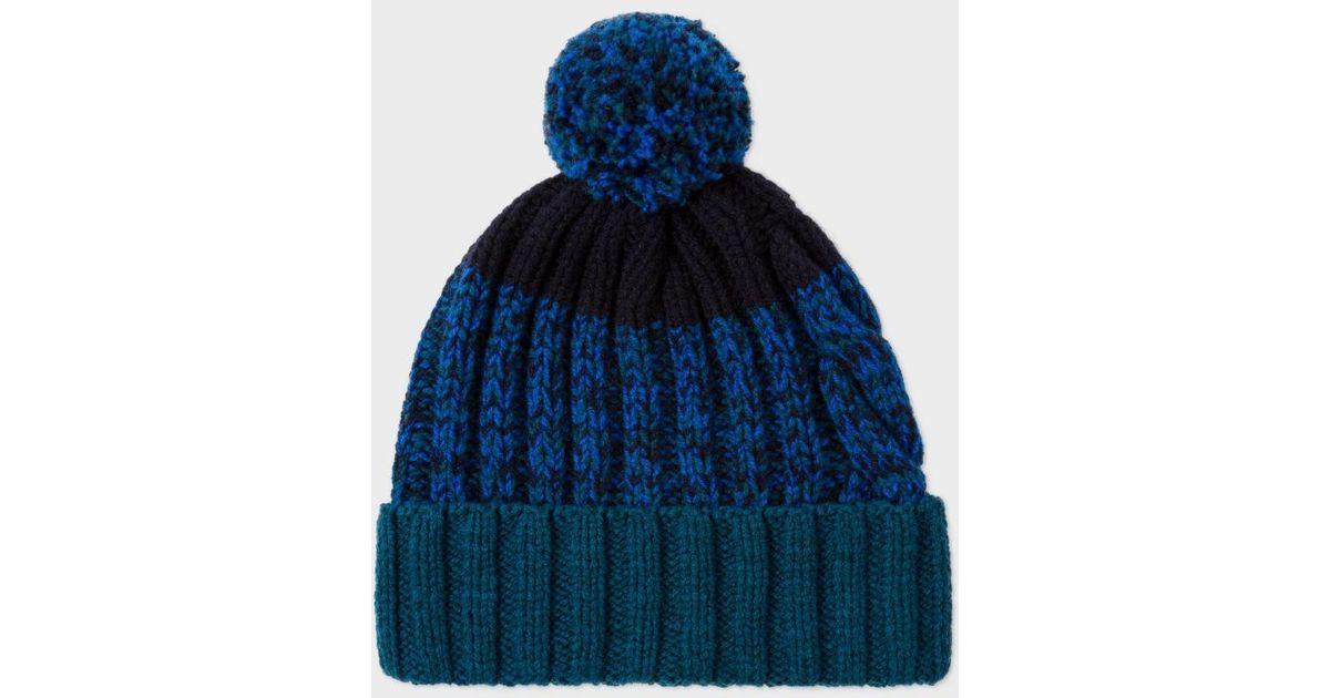 b9b10a9b59a Lyst - Paul Smith Men s Navy Lambswool Twisted-yarn Cable Knit Bobble Hat in  Blue for Men